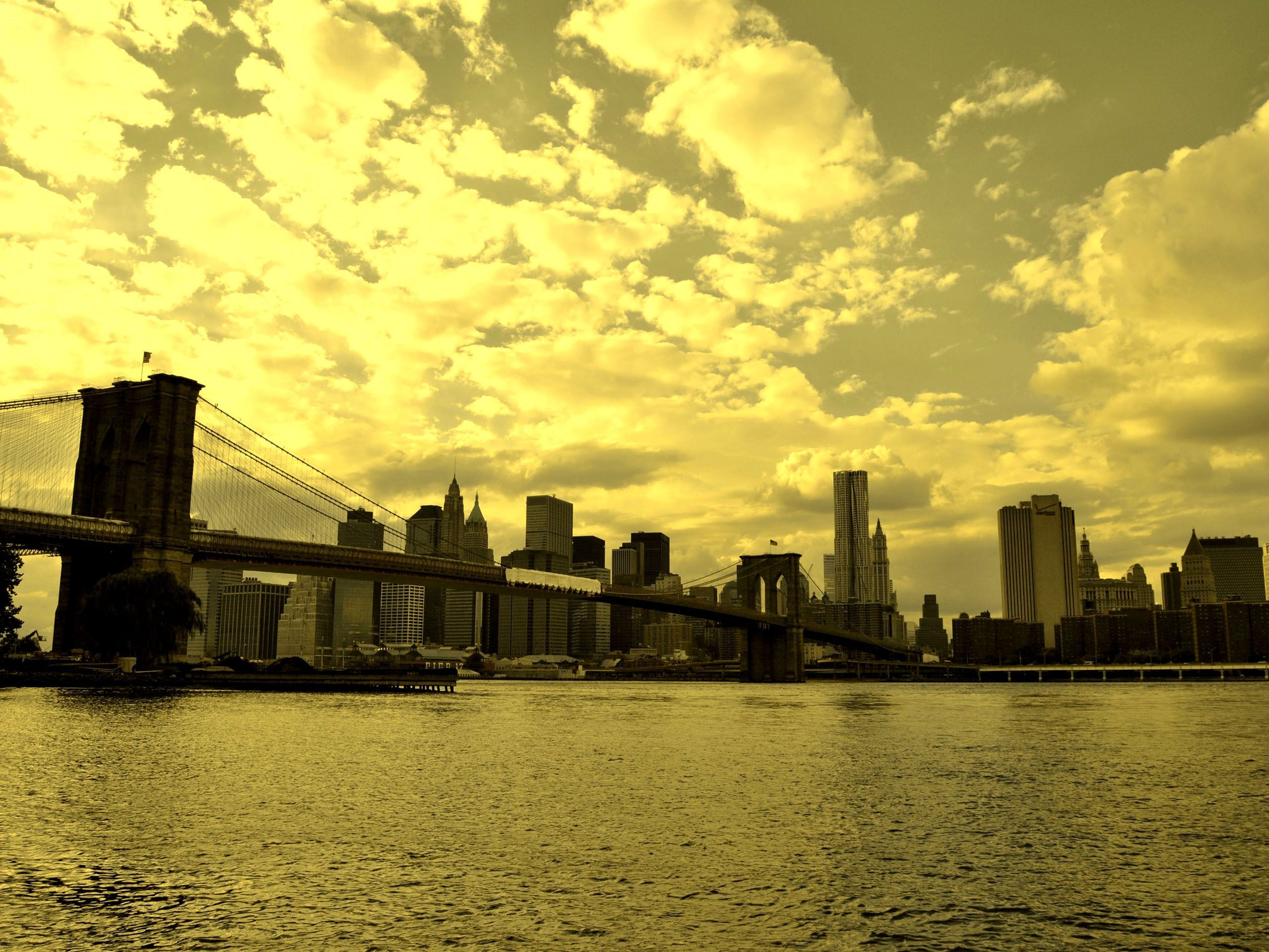 Brooklyn Bridge And New York Skyline Nyc Usa Hd