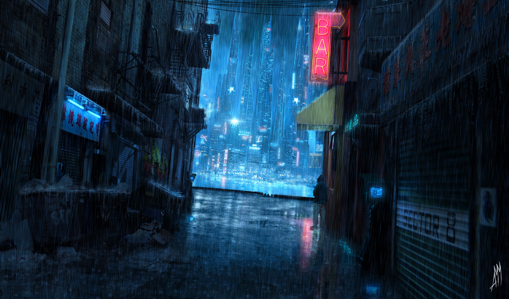 Cyberpunk, rain, city, lights, night, future - HD wallpaper desktop backgrounds