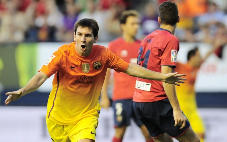 Lionel Messi, FC Barcelona, celebration, goal, form