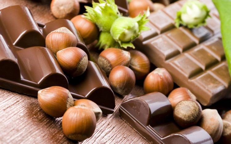 Nuts, hazelnut, shell, chocolate, Tile