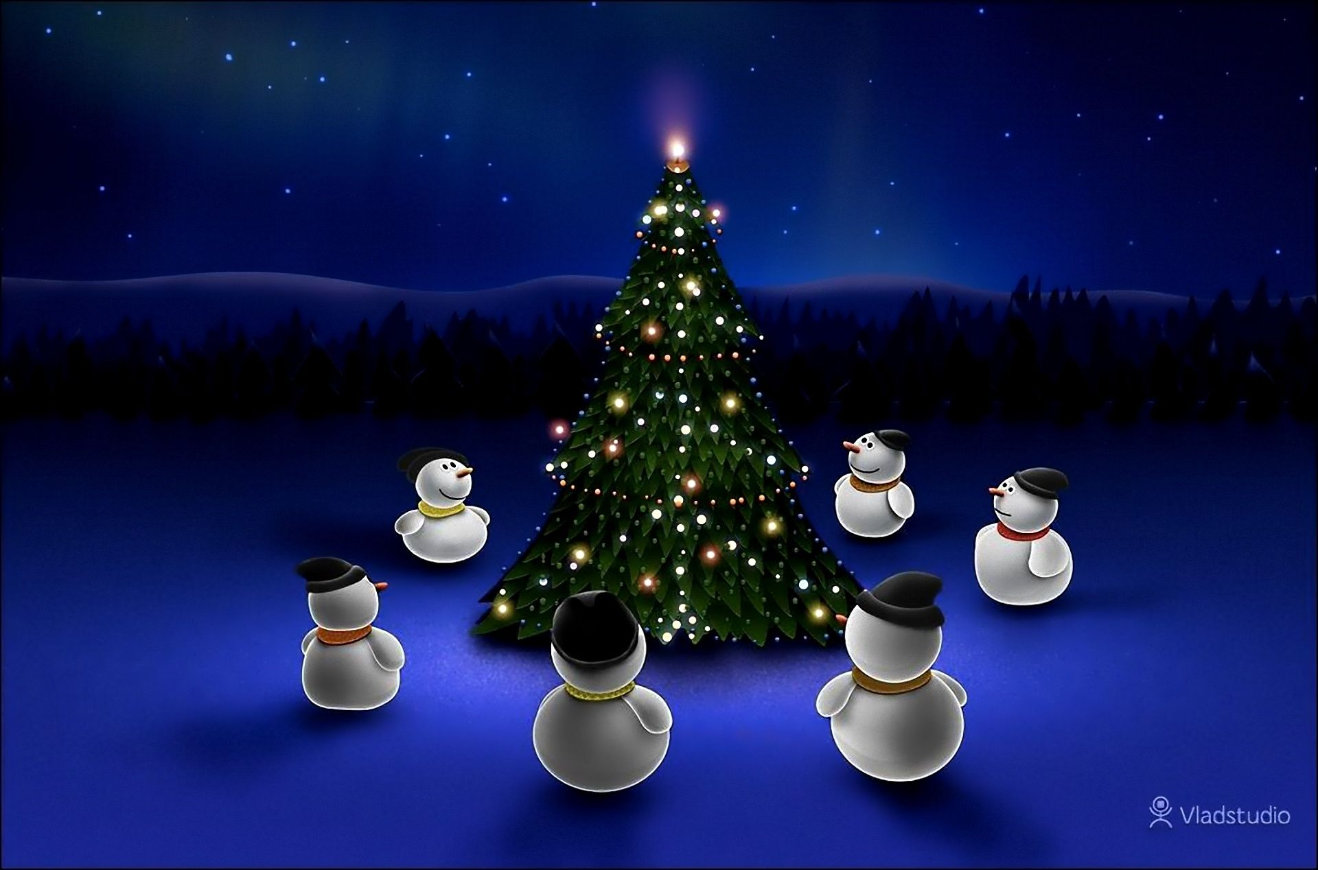 Snowmen, Trees, garland, Toys, roundelay - HD wallpaper desktop backgrounds