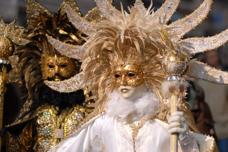 Venice, carnival, costumes, Mask, photo, white, black, gold
