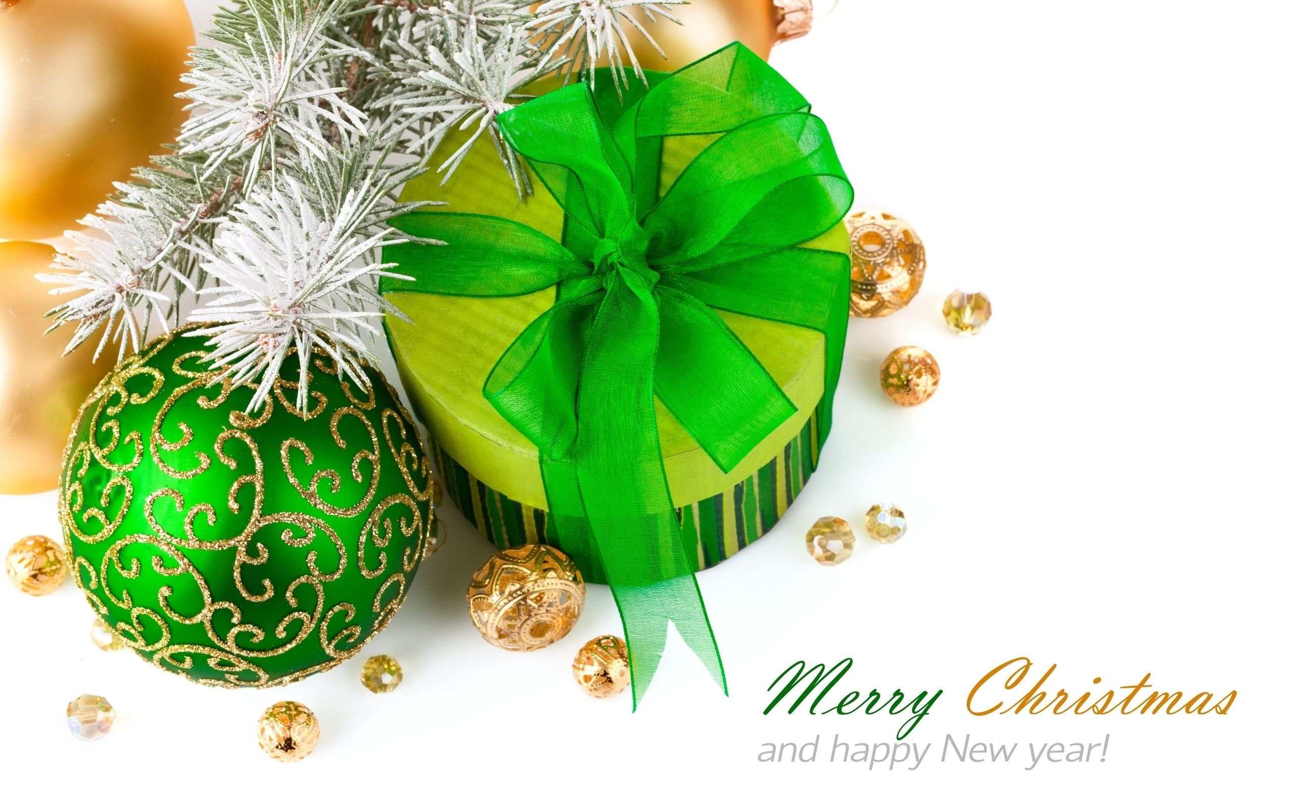 gift, bow, green, ball, with ornament, frost, on a branch, Trees, happy new year - HD wallpaper desktop backgrounds