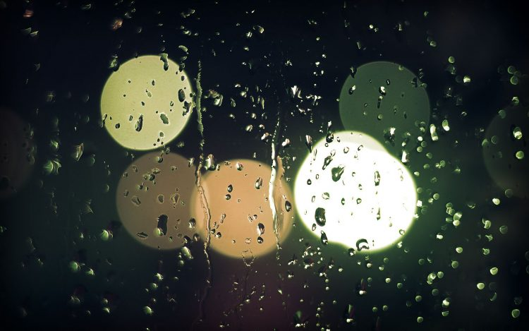 macro, rainy night, glass, light, lights, mood, photo