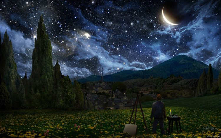 space, nature, sky, night, Star, moon, sickle, clouds