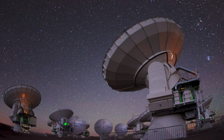 space, night, sky, telescope, radio
