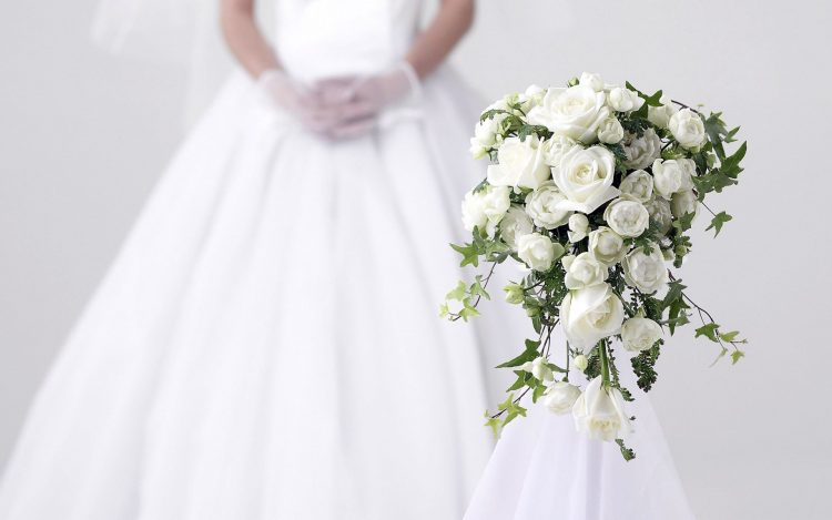 wedding, White, dress, bouquet, Rose, mood