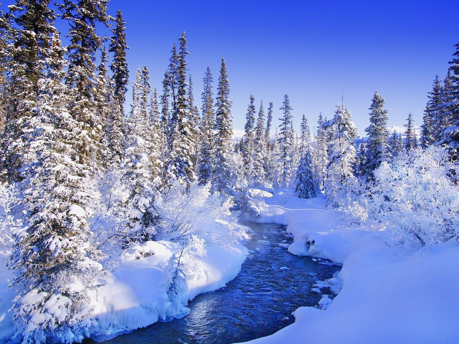 winter, snow, river, blue - HD wallpaper desktop backgrounds