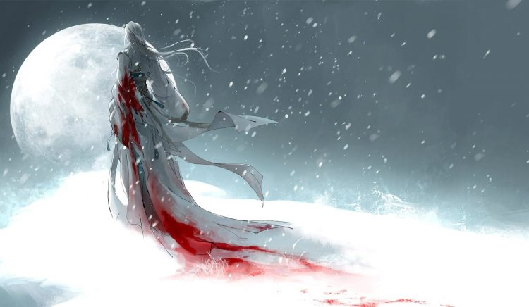 Art, girl, moon, snow, blood