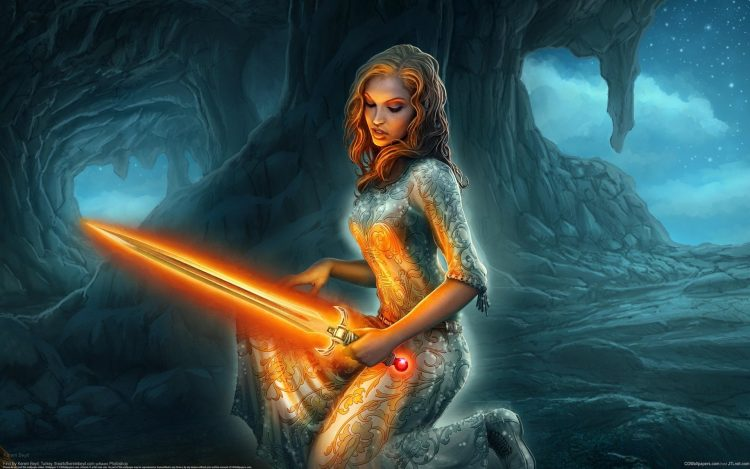 Art, girl, sword, magic, rocks