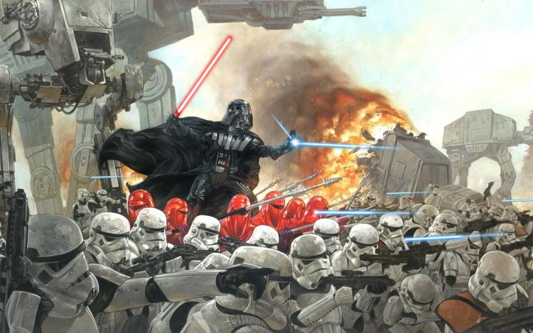 Darth Vader, battle, Imperials, stormtroopers, fantasy
