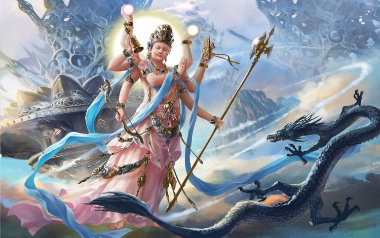 Fantasy, mythology, picture, snake, Vishnu, god
