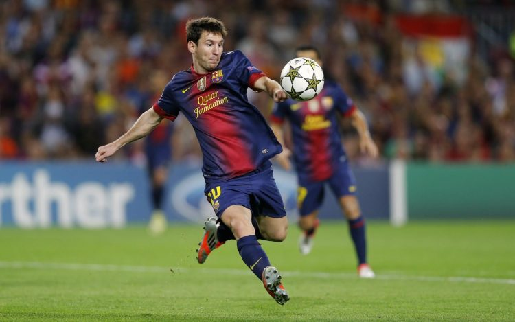 Lionel Messi, barcelona, Champions League, ball, strike