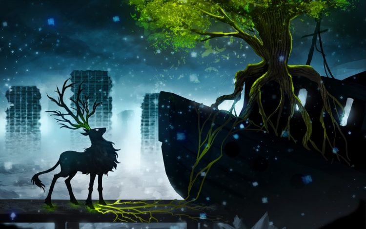 Romance of the apocalypse, Deer, tree, city, snow