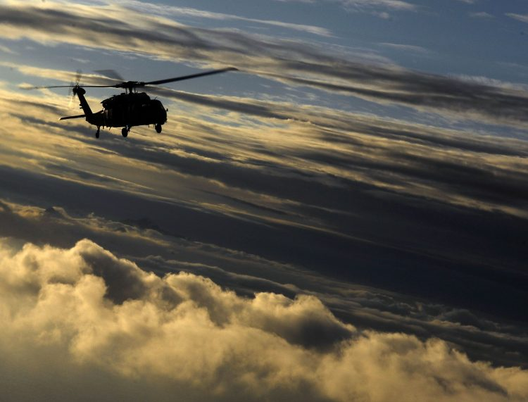 SH-60, helicopter, blades, clouds