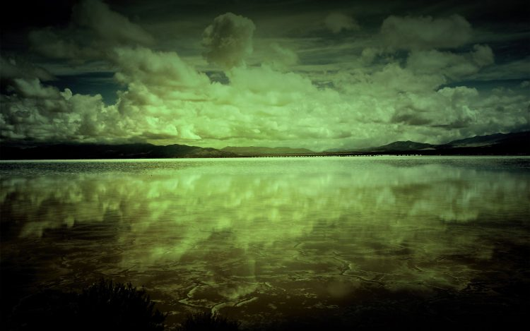 clouds, darkness, reflection, Lake