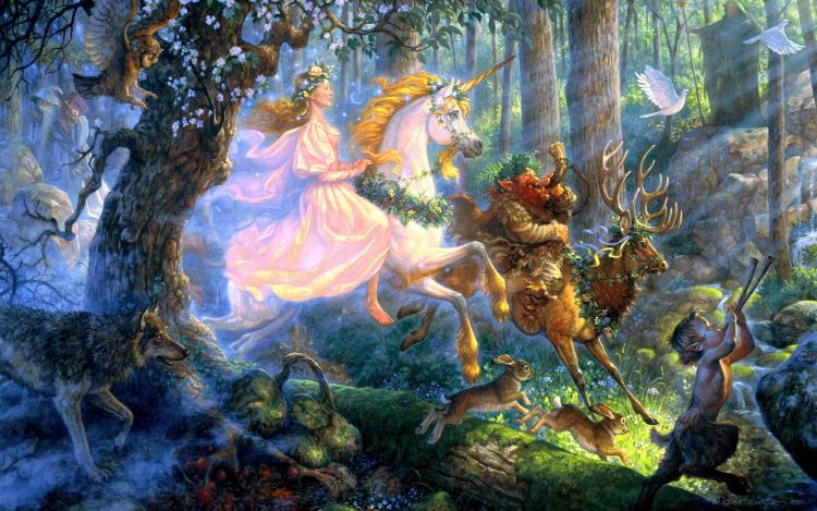 girl, unicorn, Deer, imp, wolf, Hares, Pigeons, forest, Art