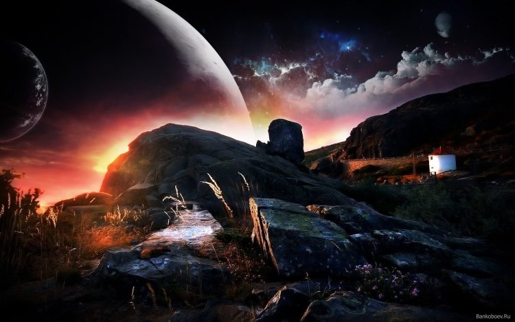 stones, mountain, planet, clouds, Star