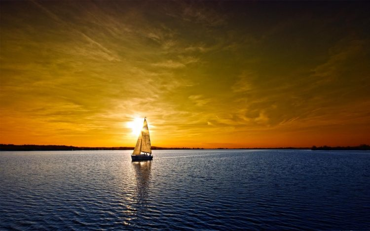 yacht, sunset, clouds
