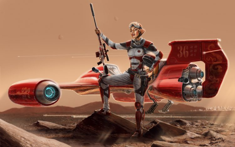 Mars, red, planet, girl, pilot, flyer, rifle