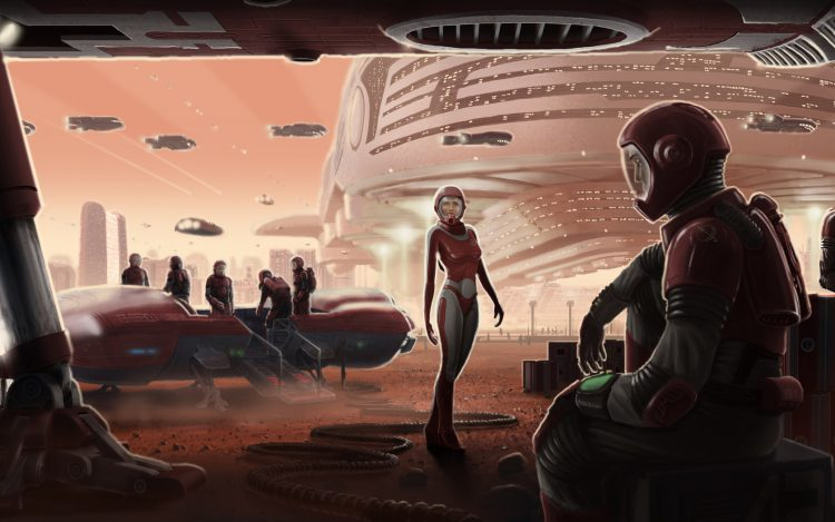 Mars, space, Port, people, Robots, Ships