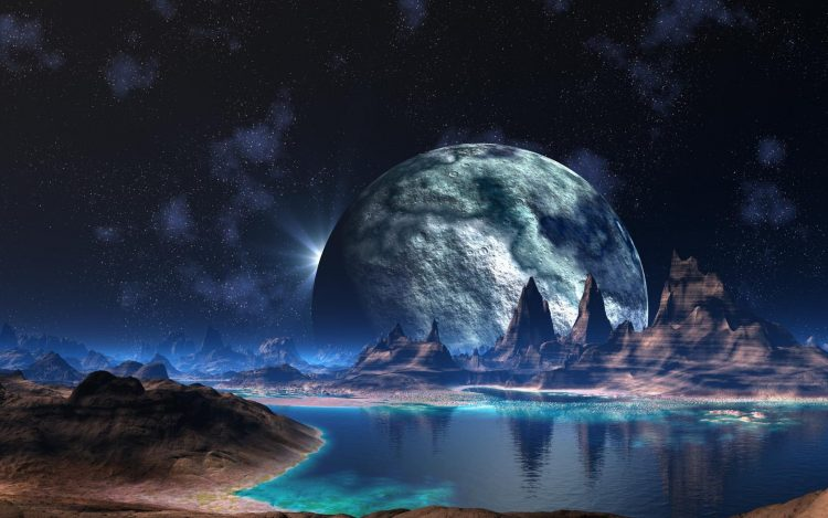 fantasy, alien world, planet, Mountains, water