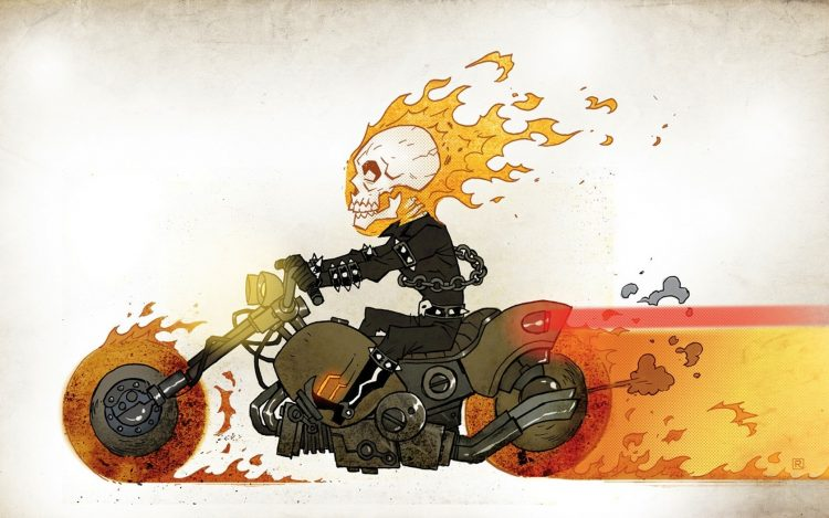 ghostly, racer, picture, motorcycle, fire, skull, chain, overall