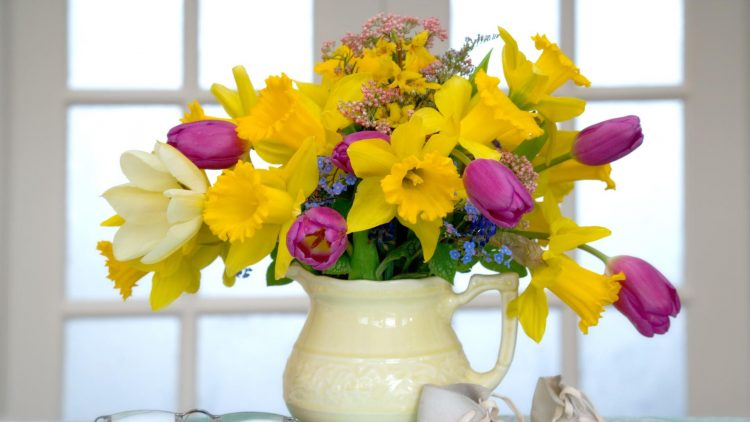 yellow pitcher bouquet