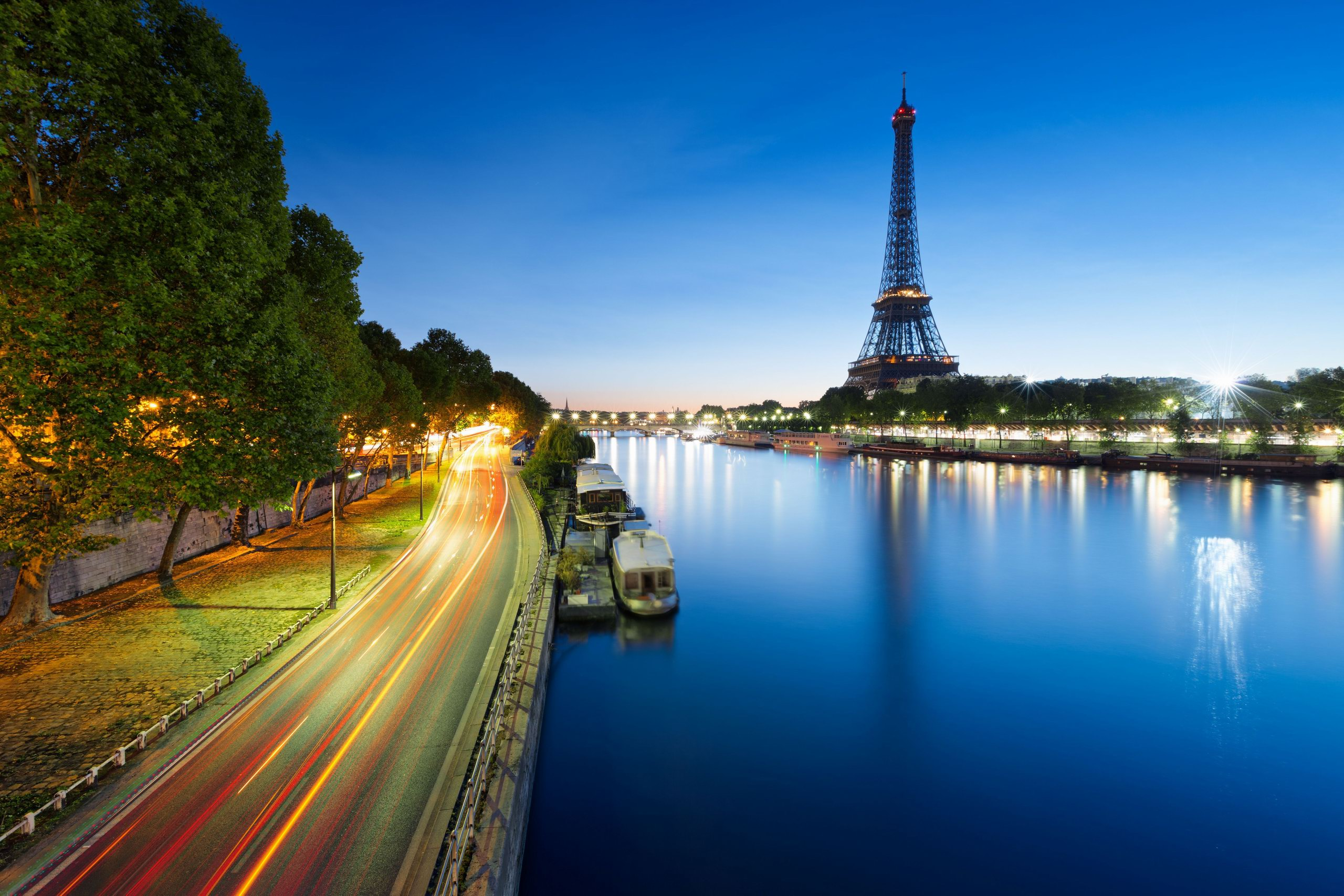 France Paris Eiffel Tower River Sung Boat Trees Road Exposure Hd Wallpaper Desktop Backgrounds