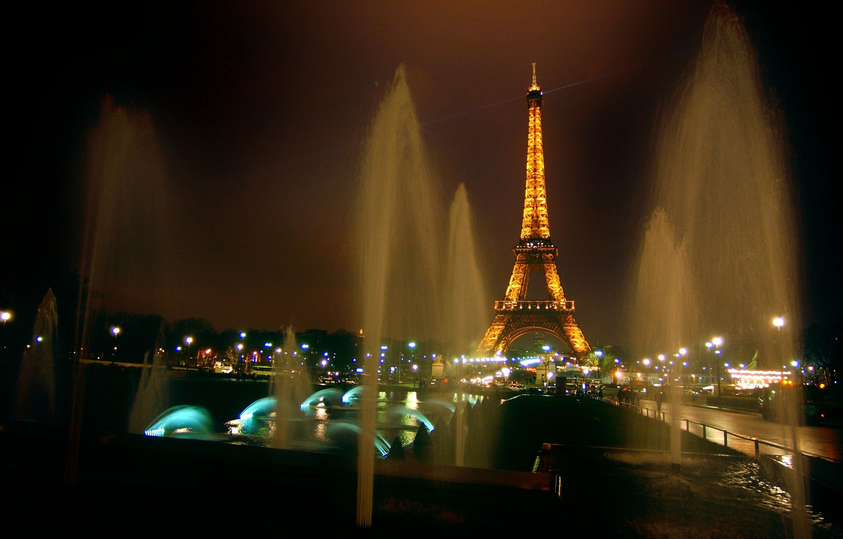 France Paris Eiffel tower night Fountains lights
