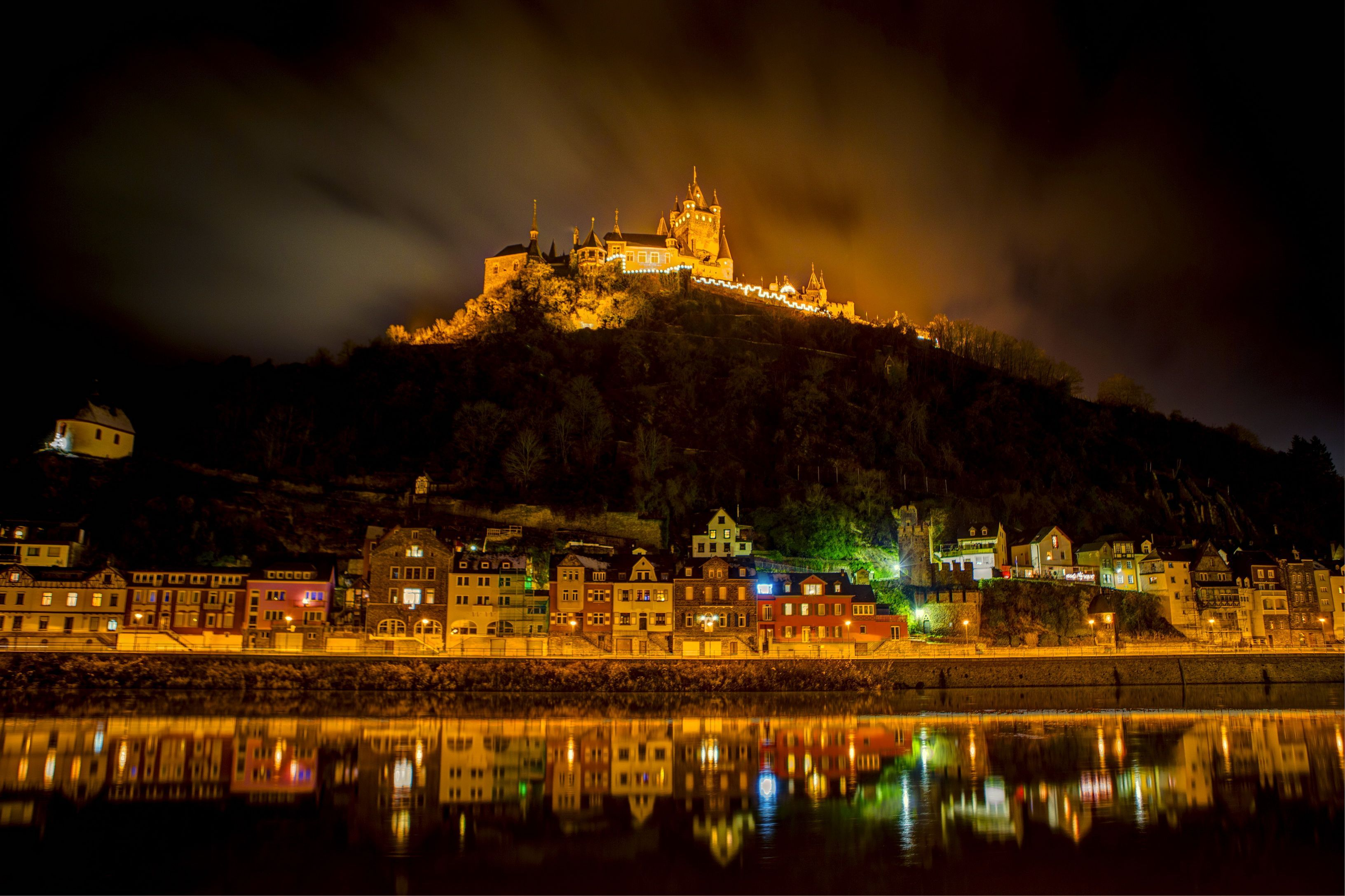 Germany Castles Fortress home River cochem burg night - HD wallpaper desktop backgrounds