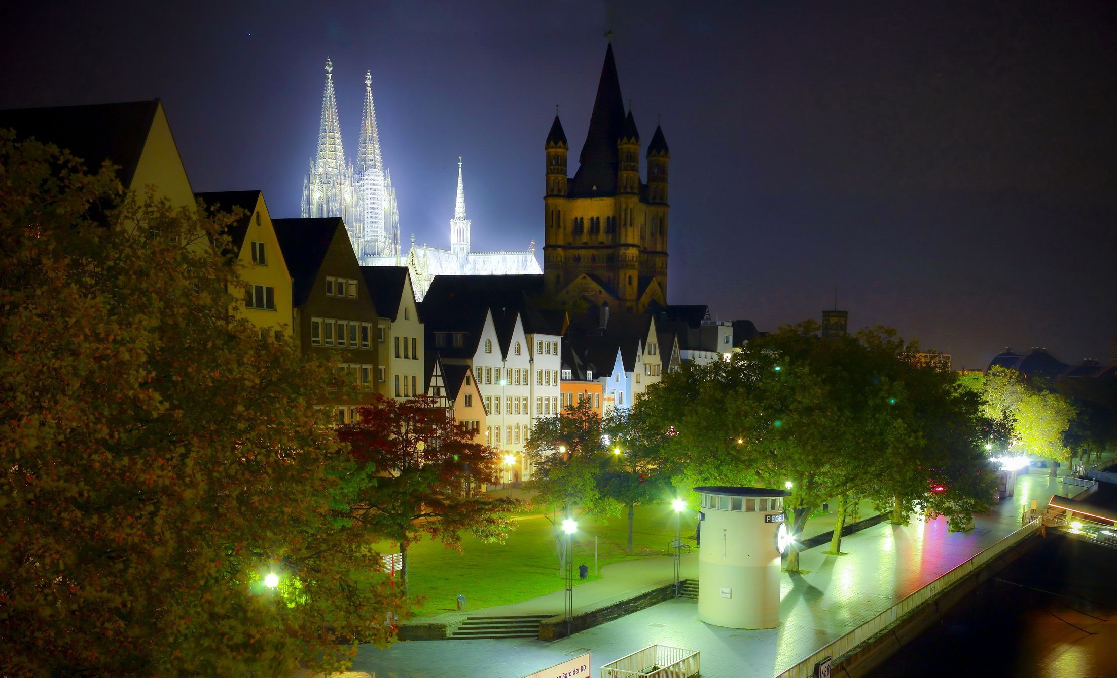 Germany lights night Cologne