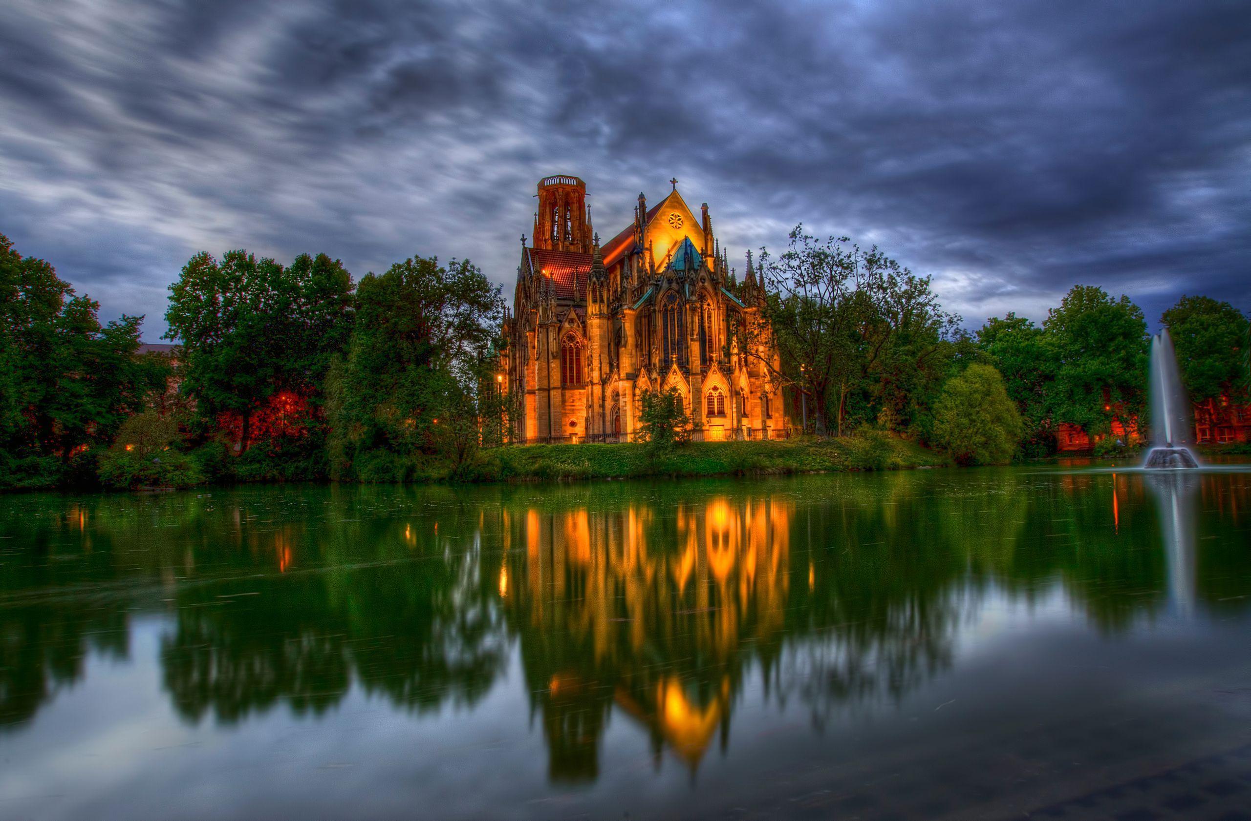 germany Germany park Cathedral fountain Church pond Trees