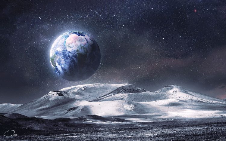 Art, moon, land, surface, Relief, Mountains, view, space, Star, hd  desktop wallpapers , Pc backgrounds, free pictures