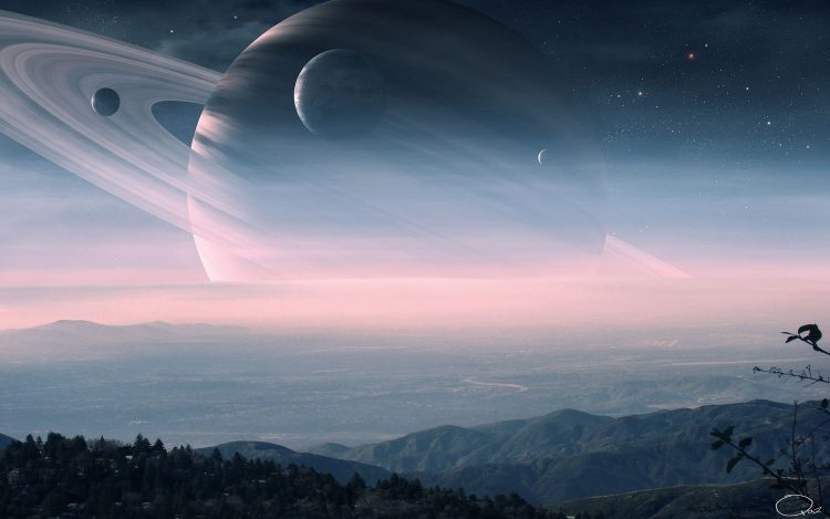 Art, planet, Ring, landscape, Hills, satellites, Star, haze, hd  desktop wallpapers , Pc backgrounds, free pictures