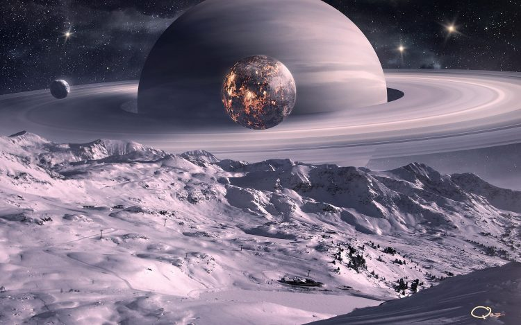 Art, space, Planet, moon, satellite, Ring, landscape, snow, Trees, surface, hd  desktop wallpapers , Pc backgrounds, free pictures
