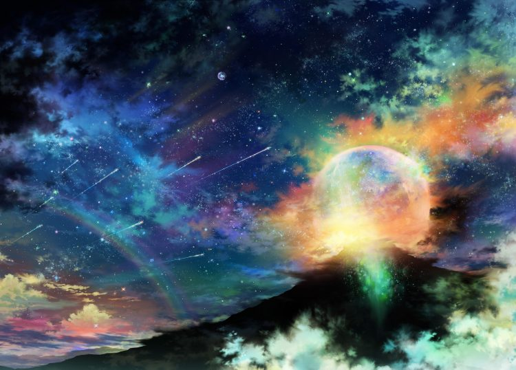 Art, tsujiki, planet, night, Star, clouds, rainbow, hd  desktop wallpapers , Pc backgrounds, free pictures