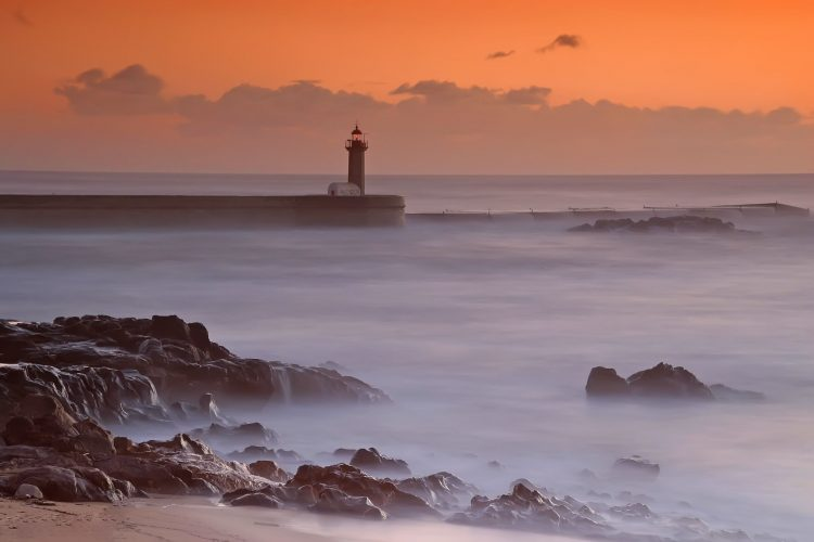 ocean, lighthouse, sunset, wave, stones, coast, hd  desktop wallpapers , Pc backgrounds, free pictures