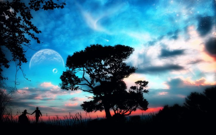tree, planet, couple, hd  desktop wallpapers , Pc backgrounds, free pictures