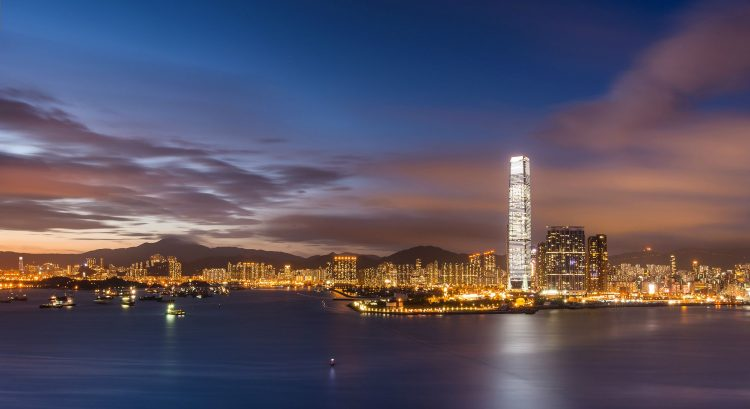 Hong Kong, China, Victoria Harbour, bay, evening, sky, clouds, sunset, megalopolis, Skyscrapers, lights, backlight, wallpapers , Pc backgrounds, free photos