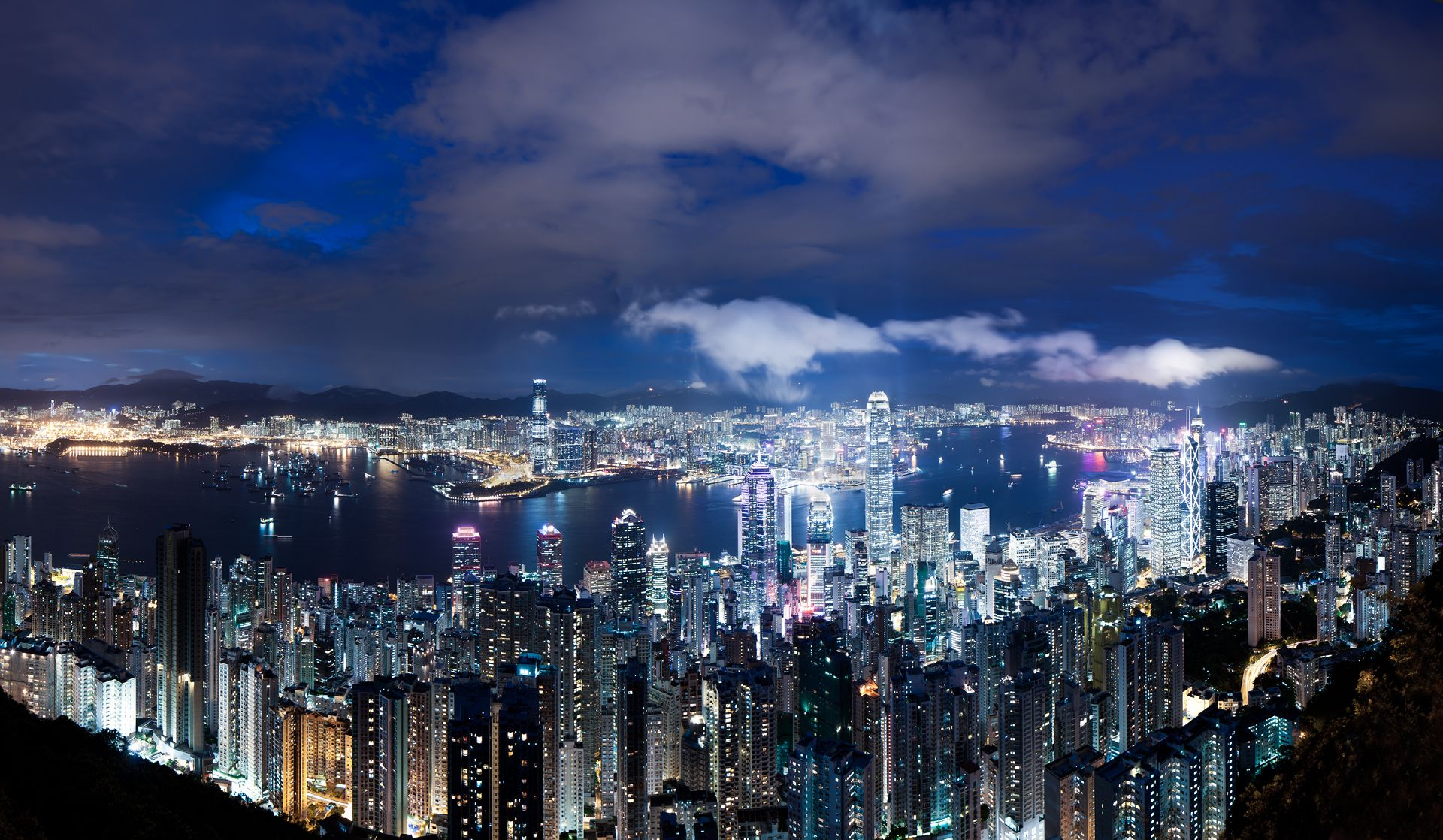 Hong Kong, China, night, megalopolis, Skyscrapers, lights, backlight, blue, wallpapers , Pc backgrounds, free photos - HD wallpaper desktop backgrounds