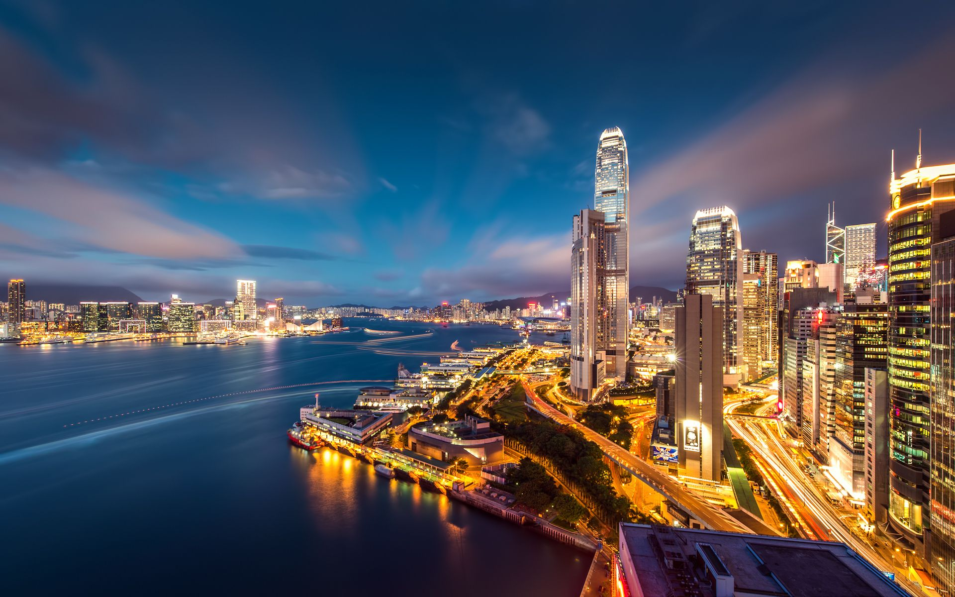 Hong Kong, Skyscrapers, building, bay, lights, sky, evening, megalopolis, wallpapers , Pc backgrounds, free photos - HD wallpaper desktop backgrounds