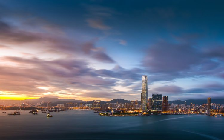 Hong Kong, evening, sunset, sky, clouds, bay, building, lights, Port, megalopolis, wallpapers , Pc backgrounds, free photos