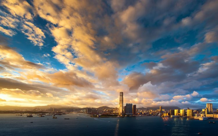 Hong Kong, evening, sunset, sky, clouds, building, Skyscrapers, bay, Port, megalopolis, wallpapers , Pc backgrounds, free photos