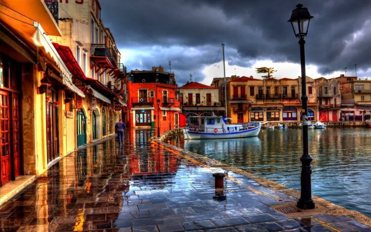 greece, Greece, embankment, building, Boat, lights, wallpapers , Pc backgrounds, free photos