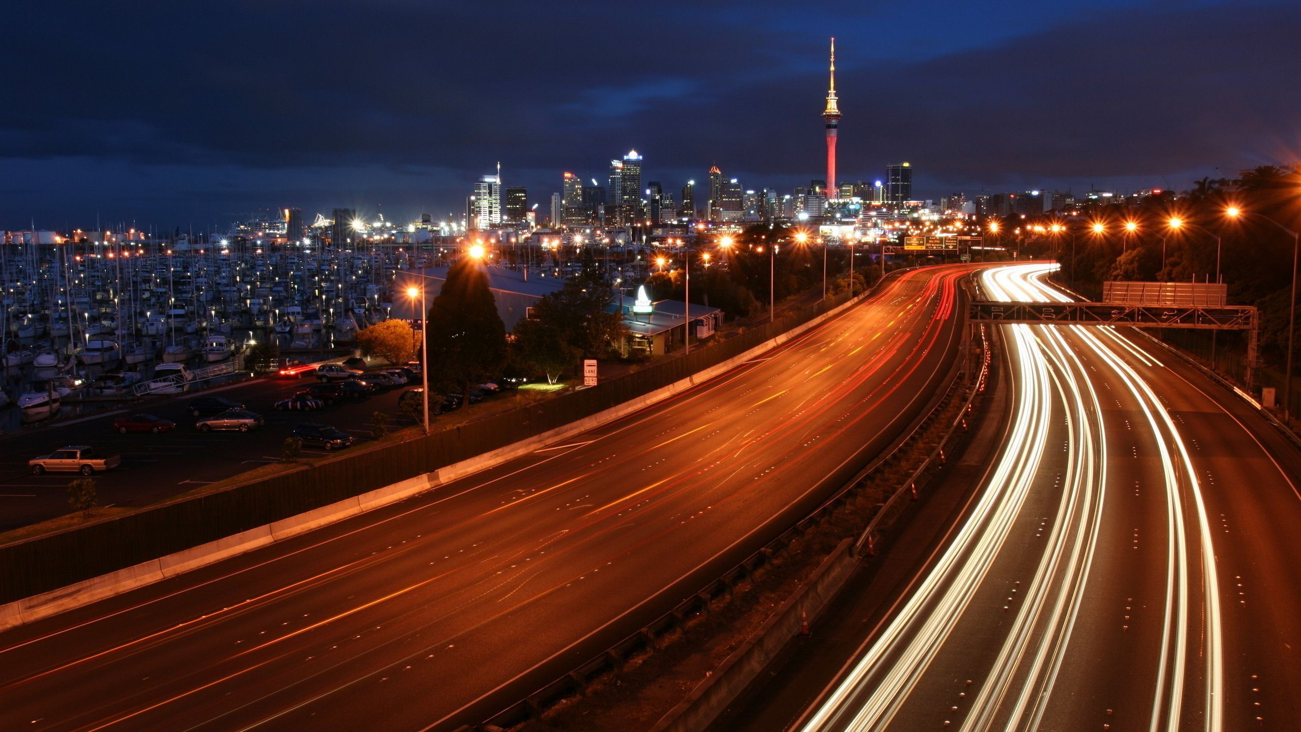 highway, lights, megalopolis, Yacht, night, wallpapers , Pc backgrounds, free photos - HD wallpaper desktop backgrounds