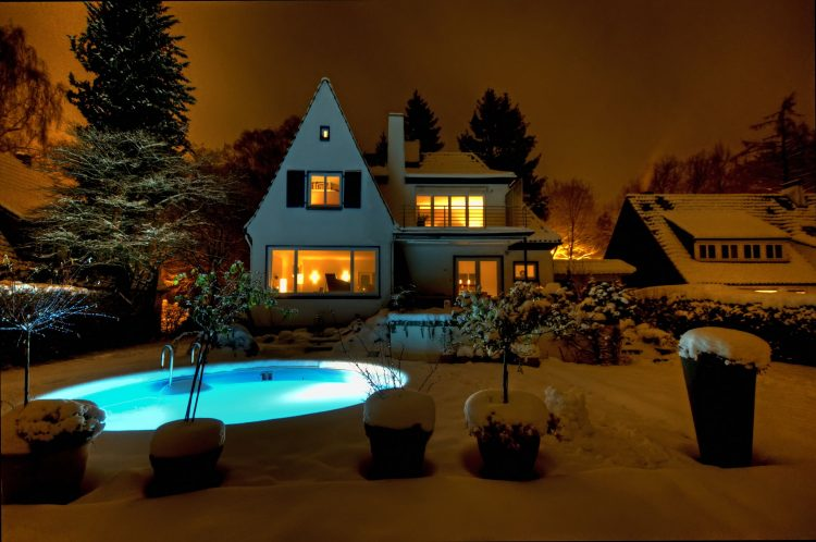 home, Mansion, Pools, night, snow, wallpapers , Pc backgrounds, free photos