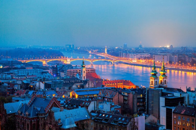 Hungary, Budapest, city, evening, panorama, building, home, river, bridge, lighting, lights 01, wallpapers , Pc backgrounds, free photos