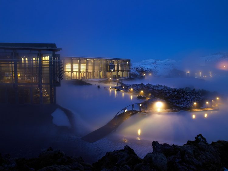 Iceland, Blue Lagoon, night, Winter, lights, home, light, snow, steam, fog, bridge, sources, Attraction, wallpapers , Pc backgrounds, free photos