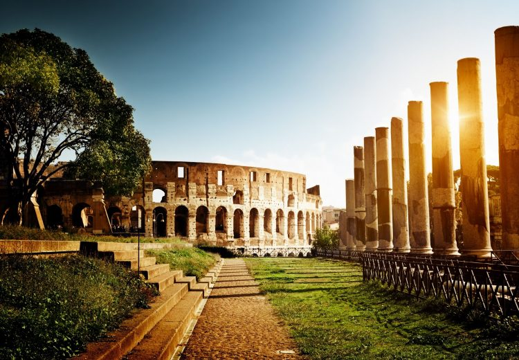 Italy, Rome, Coliseum, amphitheater, architecture, column, stairs, sun, light, wallpapers , Pc backgrounds, free photos